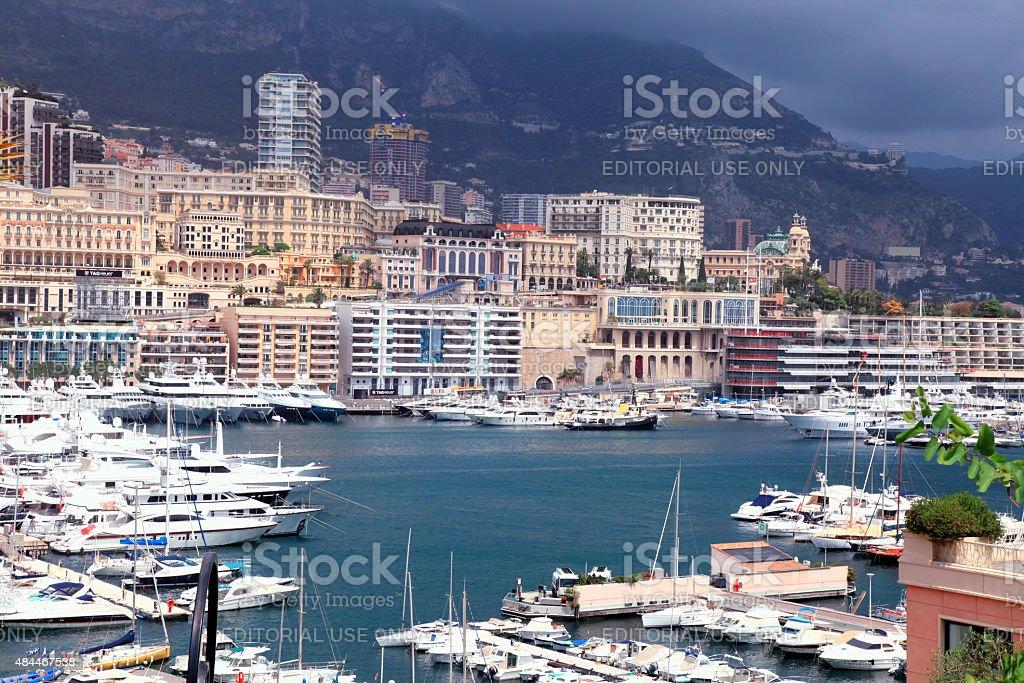 Cityscape of Monte Carlo and Hercules Harbor , Monte Carlo, Mona stock photo