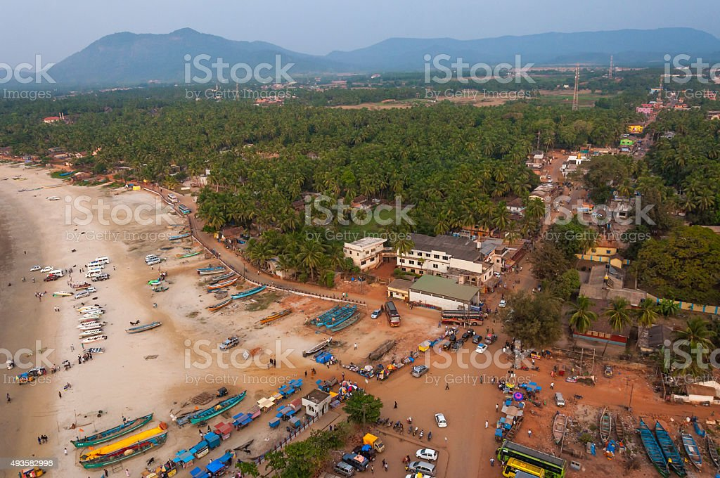 Cityscape of Murudeshwar, Karnataka, South West India stock photo