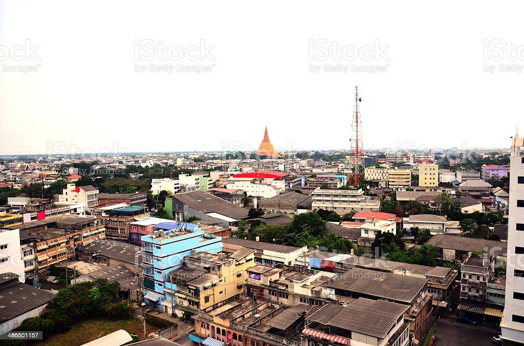 Cityscape of  Nakhonpathom Thailand stock photo