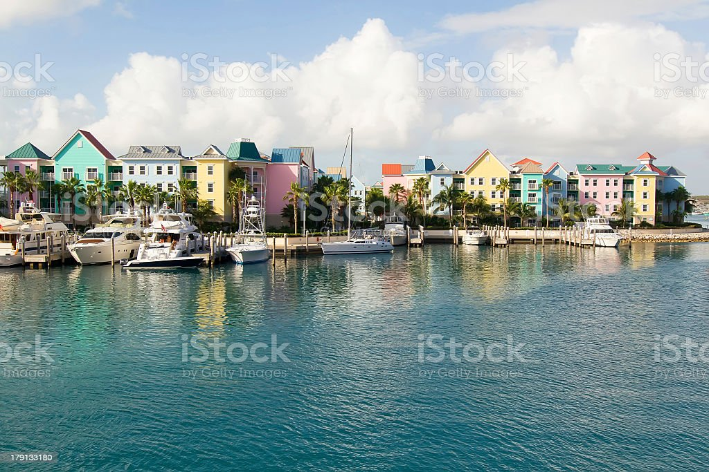 Cityscape of Nassau, Bahamas with colorful houses stock photo