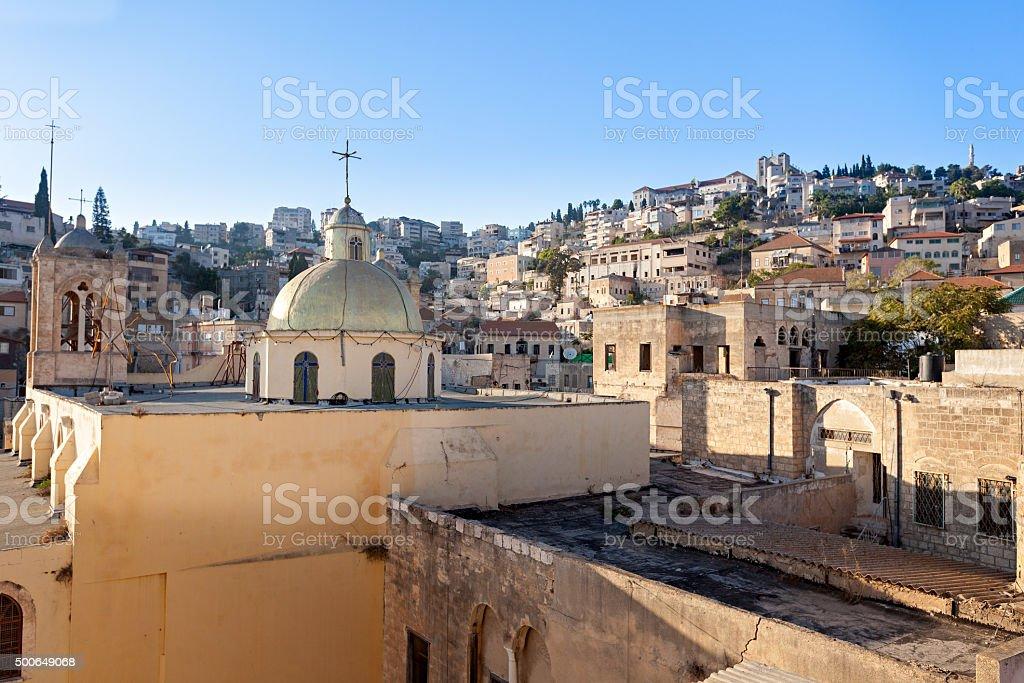 Cityscape of Nazareth in Israel stock photo