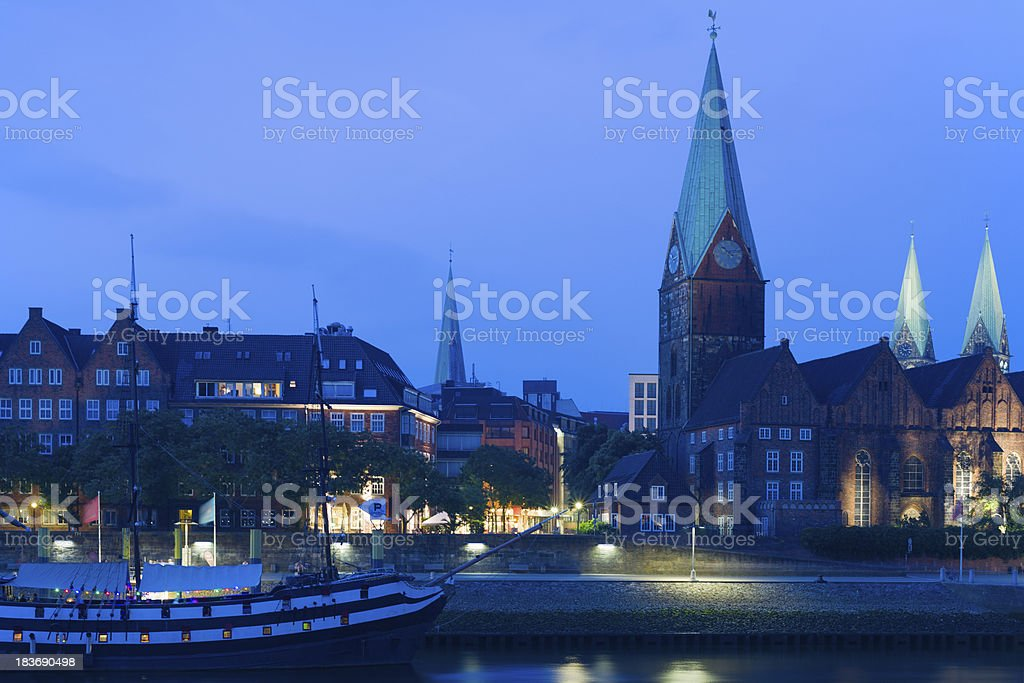 Cityscape of night Bremen in summer royalty-free stock photo