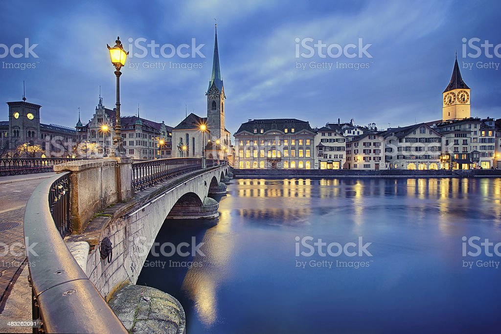 cityscape of night Zurich, Switzerland stock photo