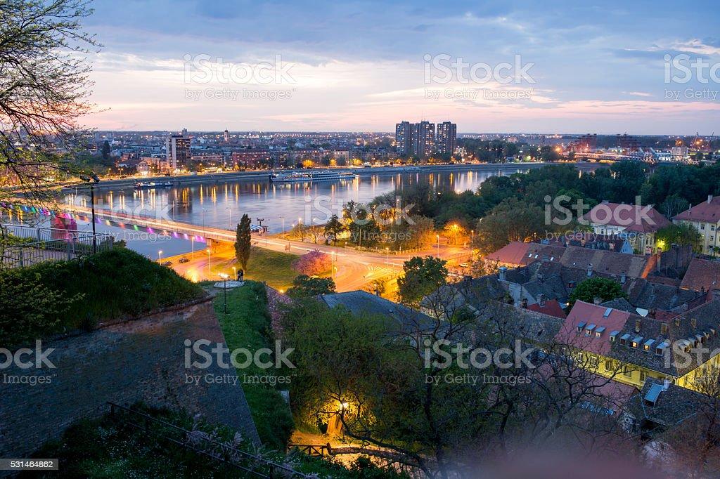 Cityscape of Novi Sad at dusk. stock photo