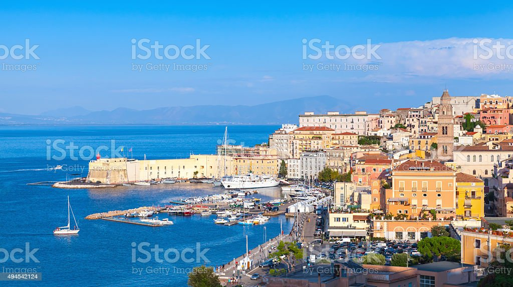 Cityscape of old Gaeta town in summer stock photo