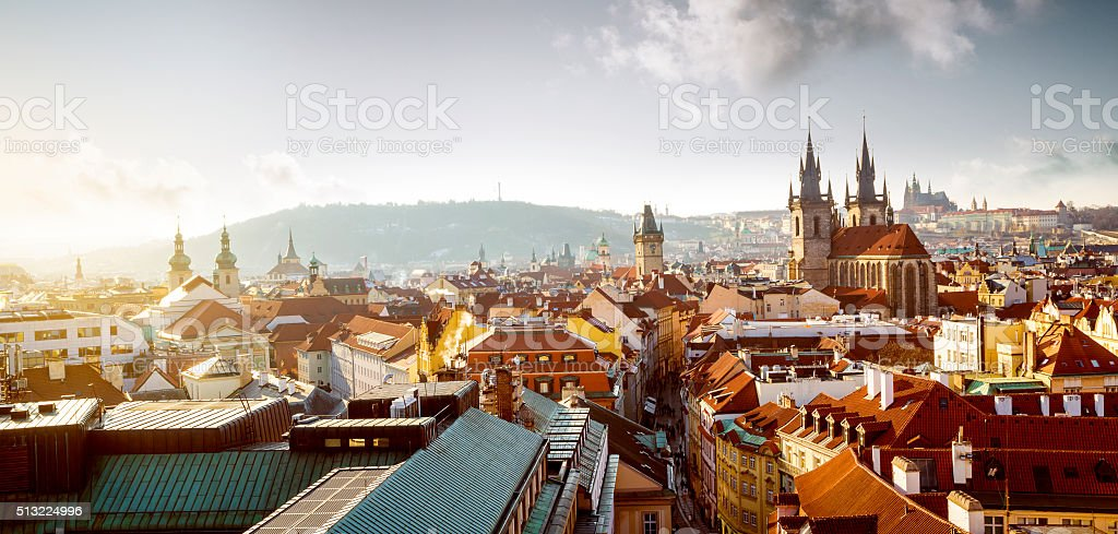 Cityscape of old town in Prague, Czech Republic stock photo