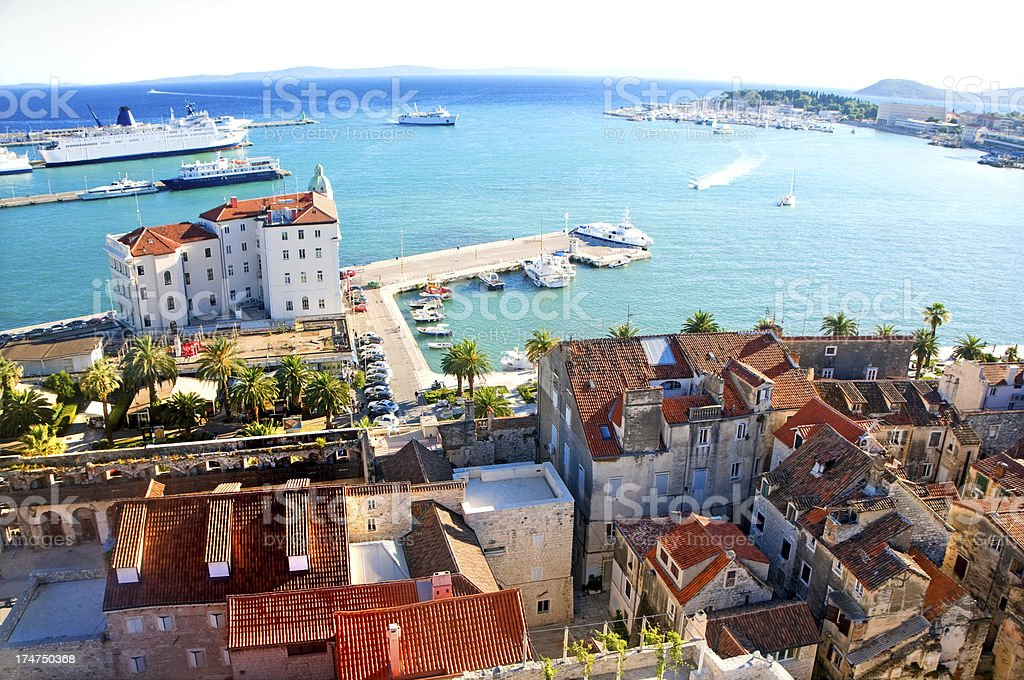 Cityscape of old town Split, Croatia stock photo