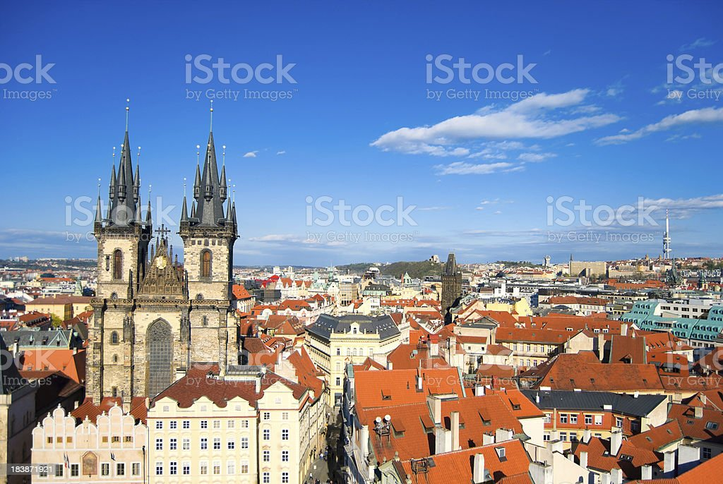 Cityscape of Old Town Square in Prague royalty-free stock photo