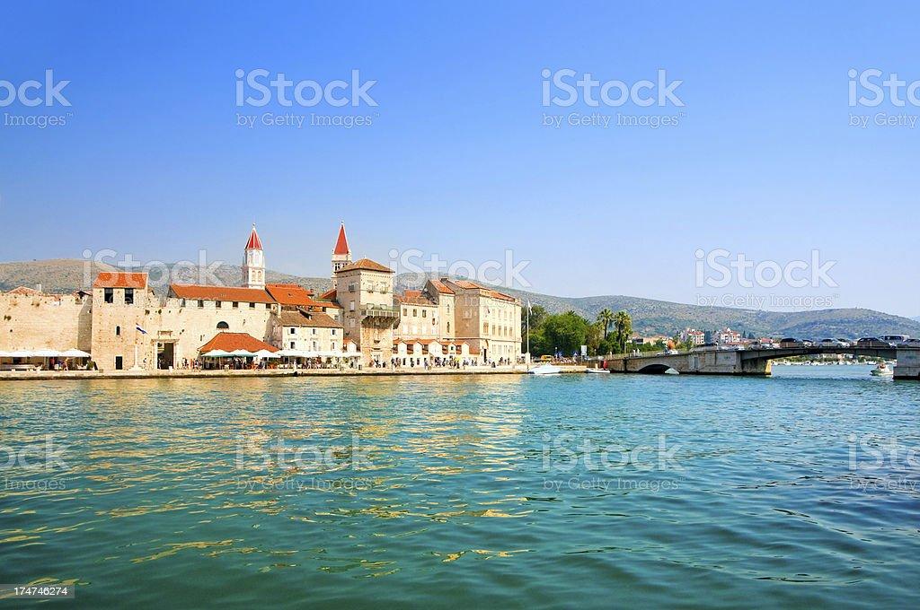 Cityscape of old town Trogir, Croatia stock photo