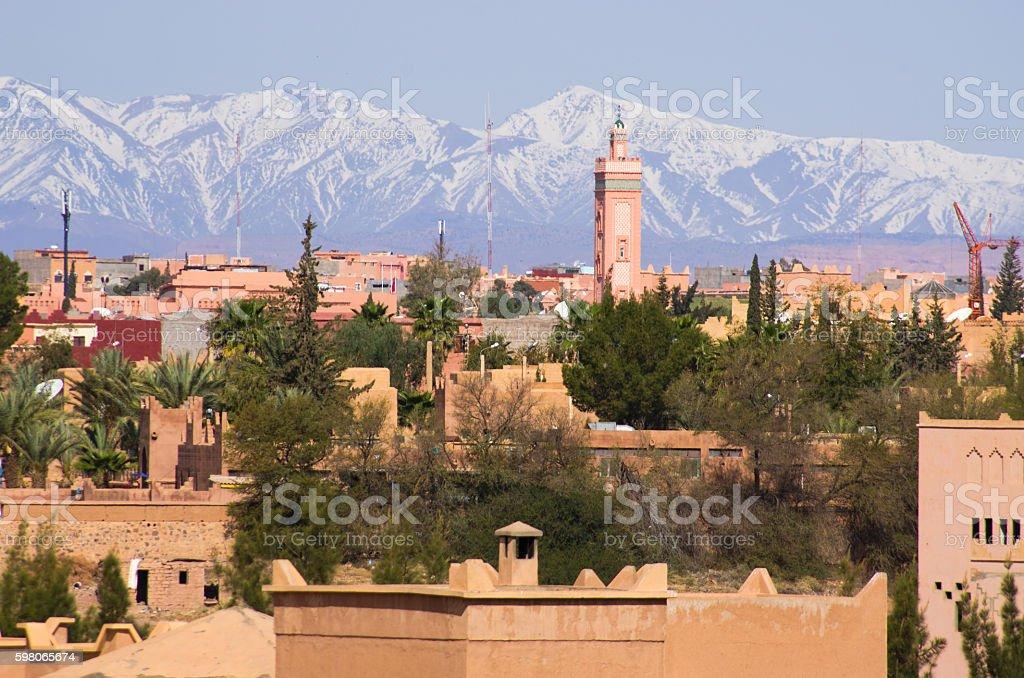 Cityscape of Ouarzazate, Morocco stock photo
