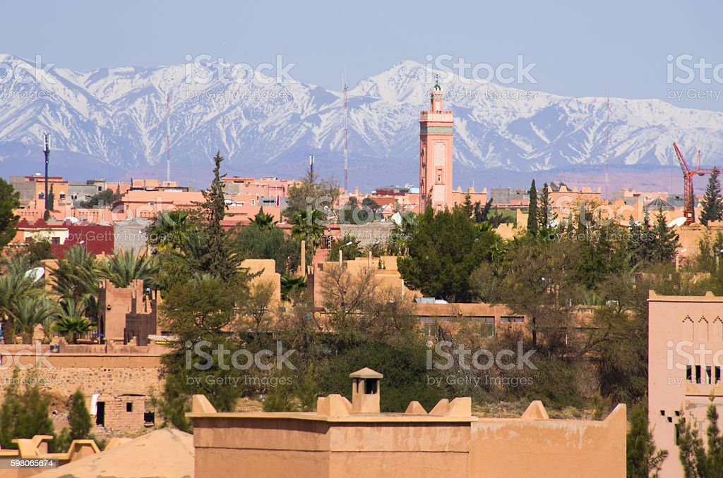 Cityscape of Ouarzazate, Morocco stock photo