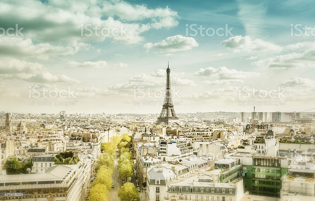 Cityscape of Paris and the Eiffel Tower royalty-free stock photo