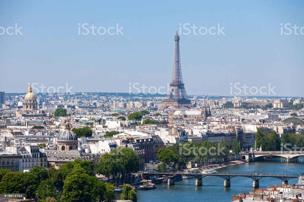 Cityscape of Paris and the Seine river stock photo