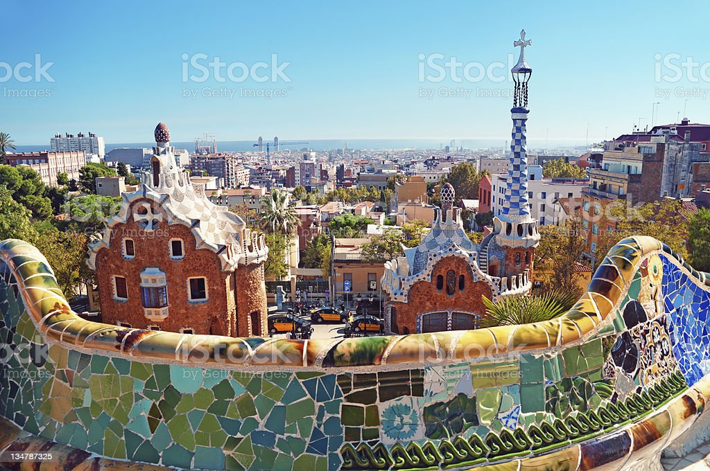 Cityscape of Park Guell in Barcelona, Spain stock photo
