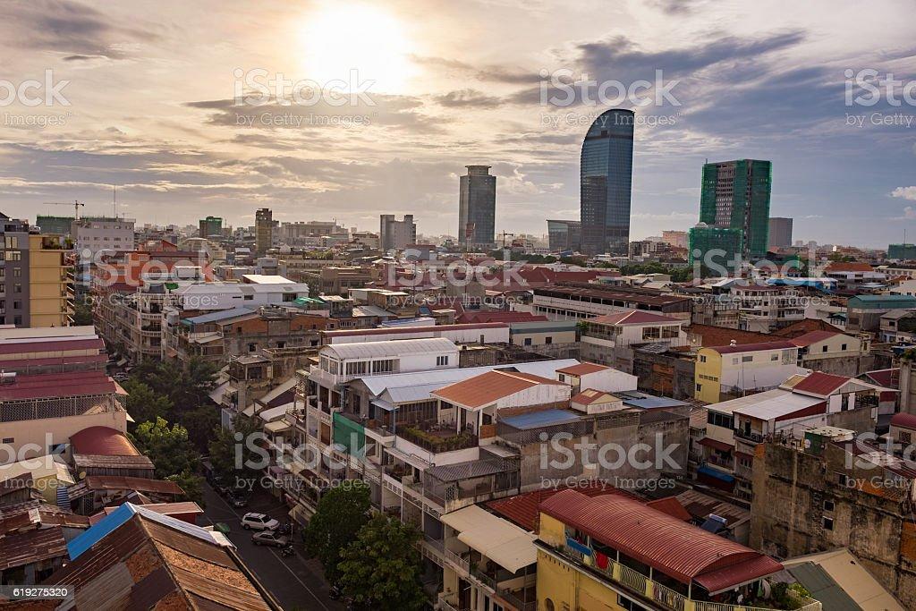 Cityscape Of Phnom Penh The Cambodian Capital City stock photo