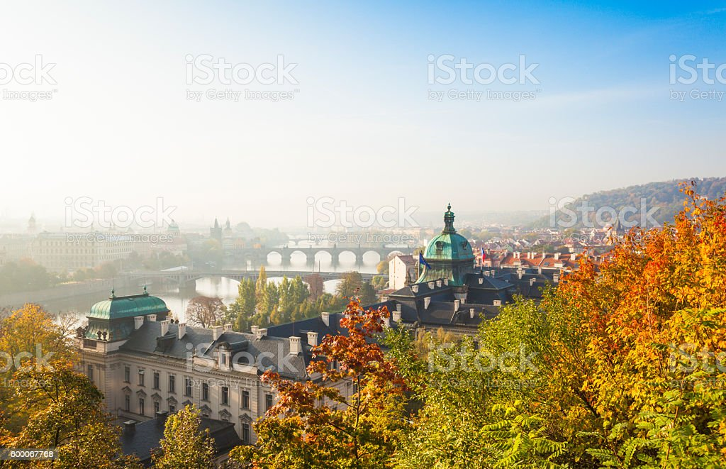 Cityscape of Prague in autumnal morning (Prague, Czech Republic). stock photo