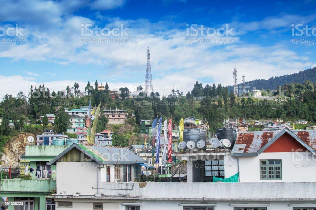 Cityscape of Rabangla, Sikkim, India stock photo