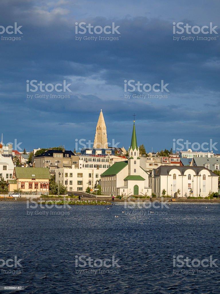 cityscape of Reykjavik Iceland stock photo
