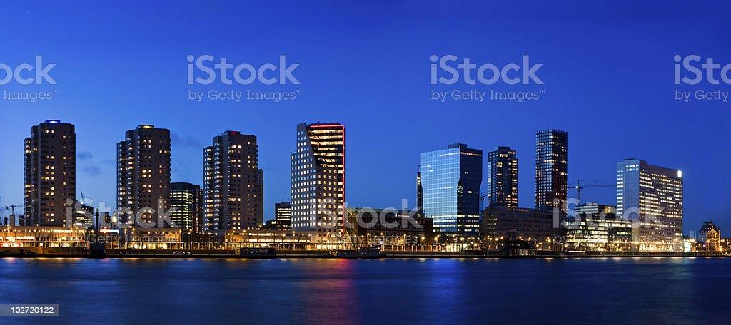 Cityscape of Rotterdam at dusk royalty-free stock photo