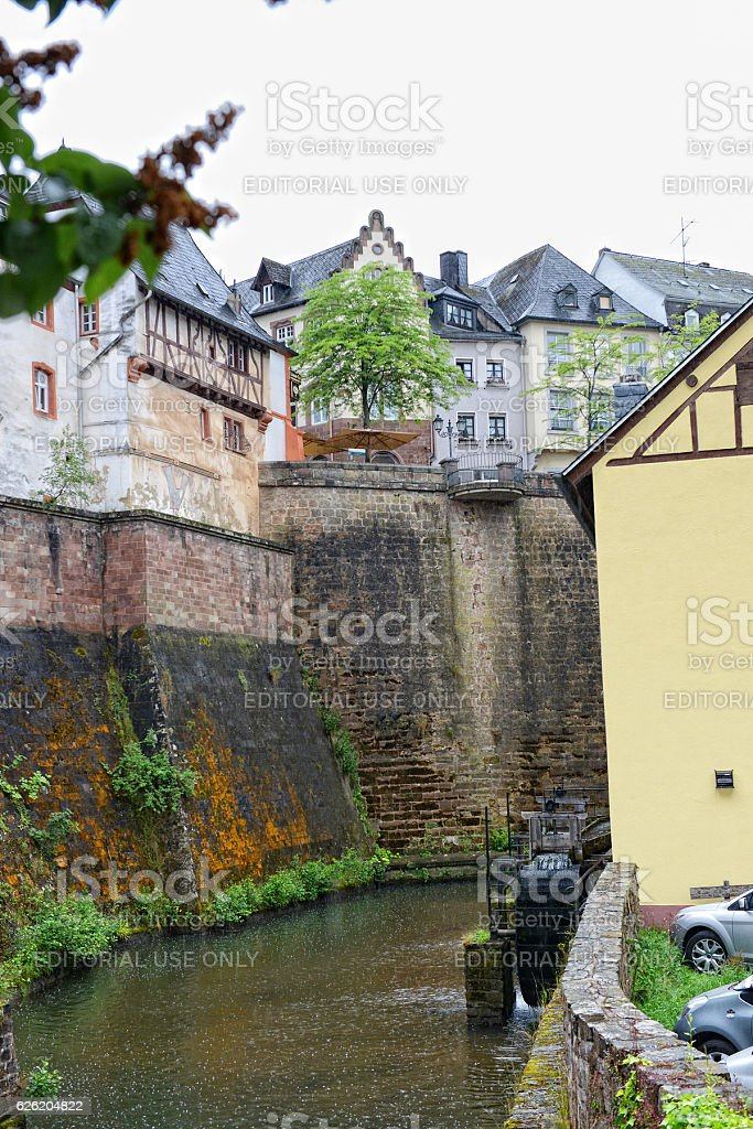 Cityscape of Saarburg with its Leukbach stream (Germany) stock photo