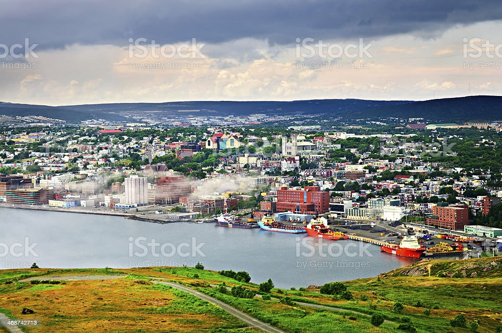 Cityscape of Saint John's from Signal Hill stock photo
