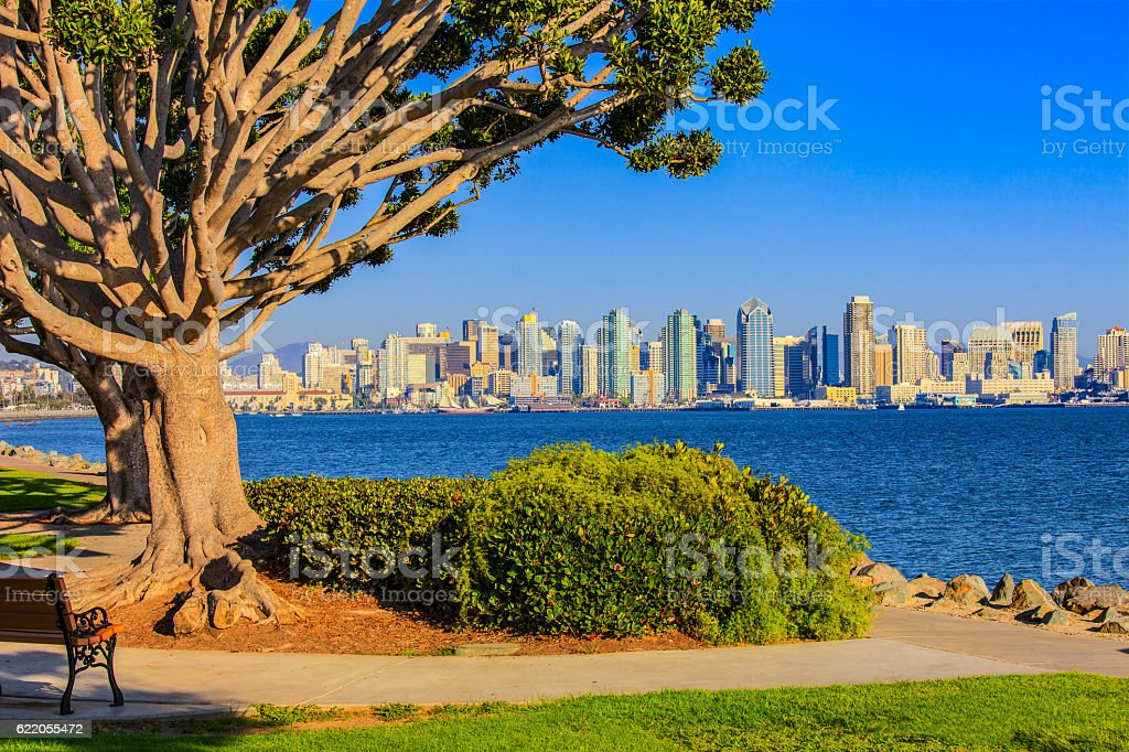 Cityscape of San Diego skyline and Bay, California stock photo