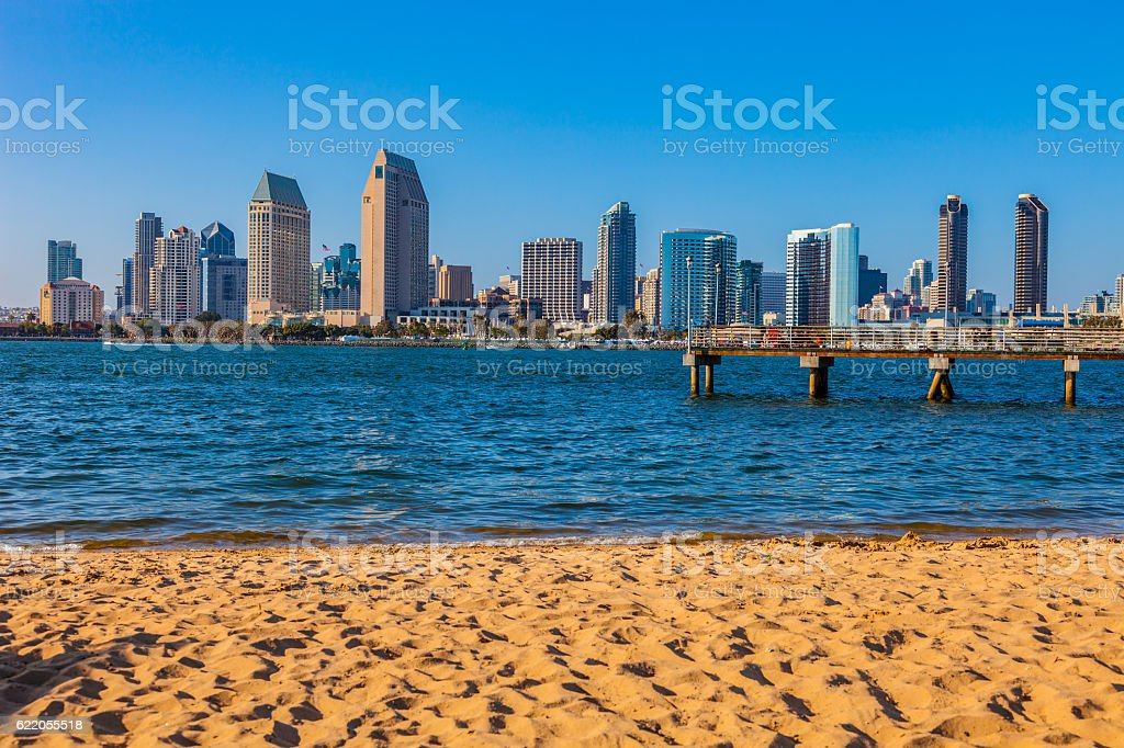 Cityscape of San Diego skyline and waterfront, CA stock photo