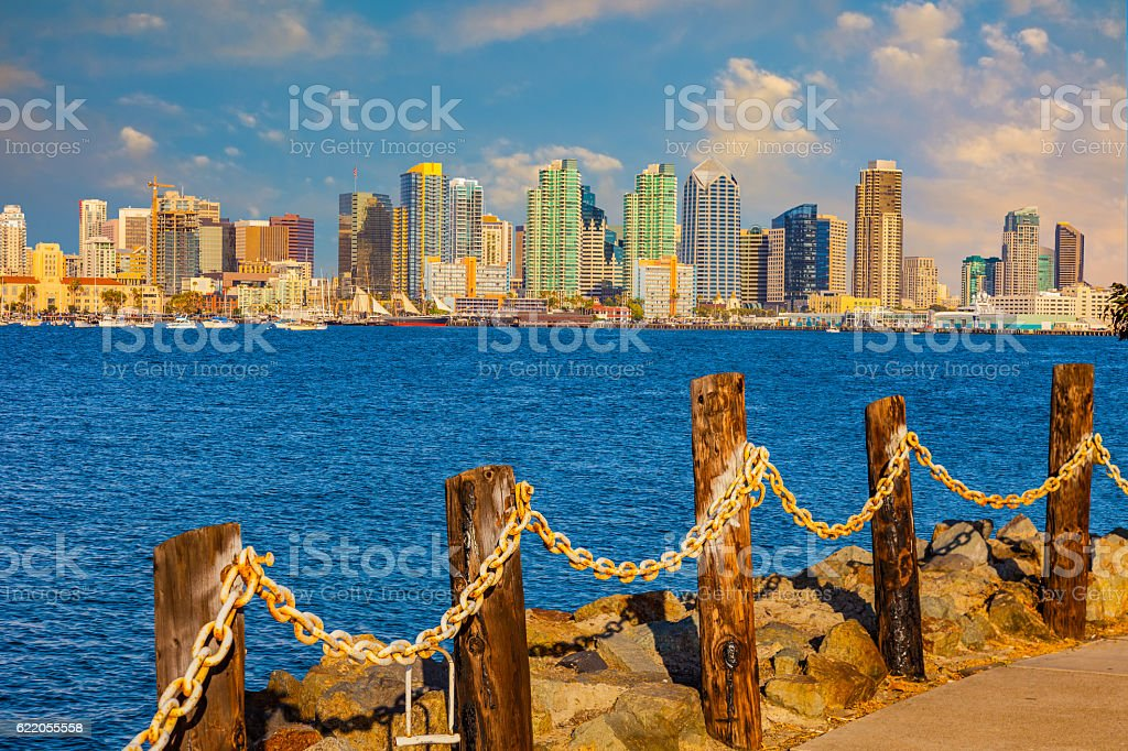 Cityscape of San Diego Skyline, California stock photo
