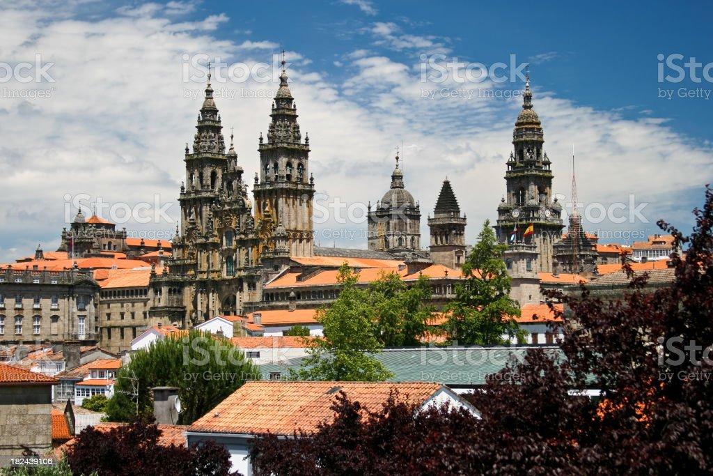 Cityscape of Santiago de Compostela stock photo
