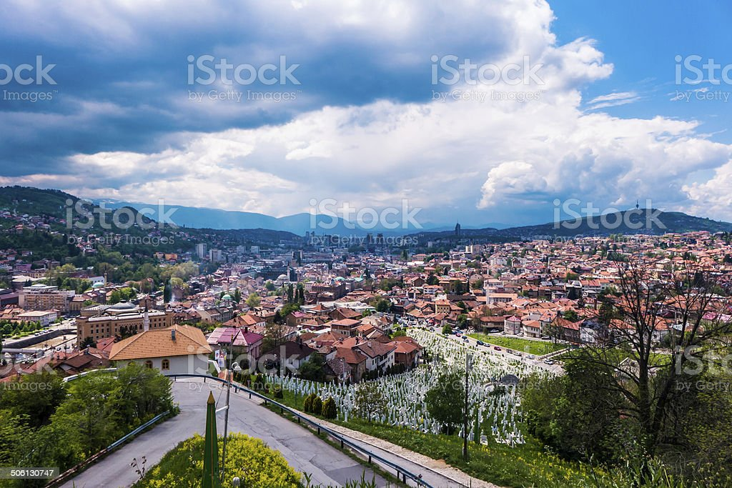 Paisagem urbana de Sarajevo, Bósnia e Herzegovina foto royalty-free