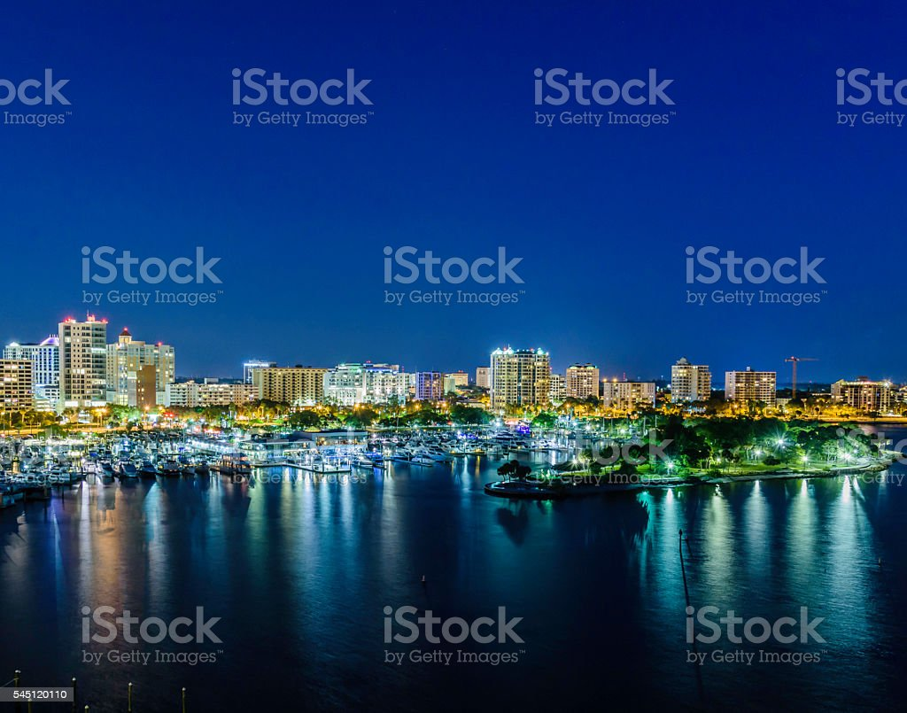 Cityscape of Sarasota at night with Bayfront park stock photo