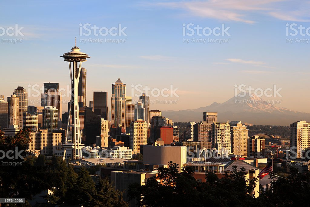 Cityscape of Seattle at sunset royalty-free stock photo