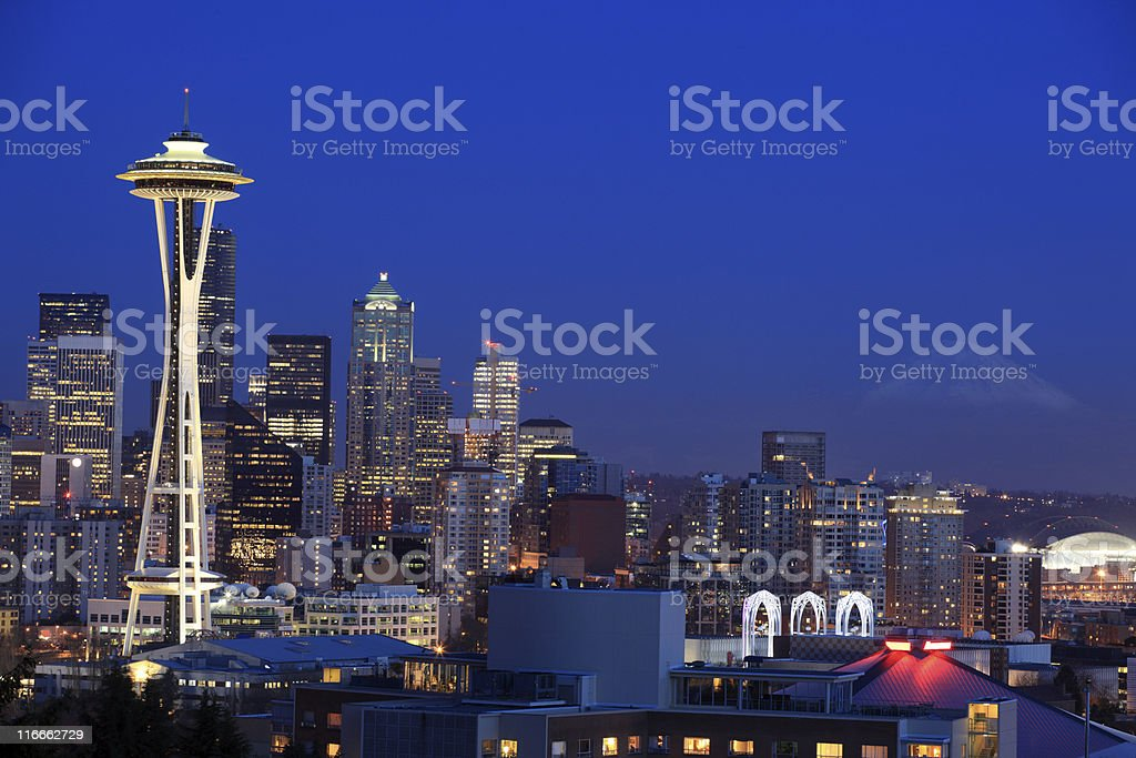 Cityscape of Seattle in Washington stock photo