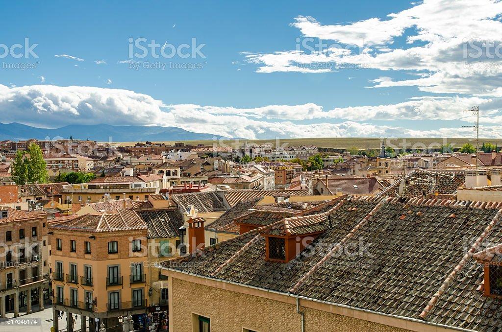 Cityscape of Segovia, Spain stock photo
