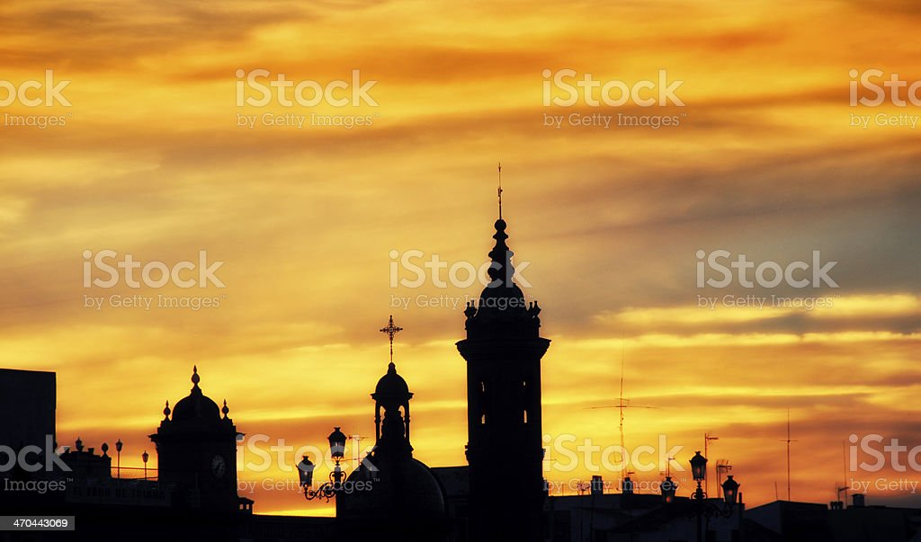 Cityscape of Seville after sunset royalty-free stock photo
