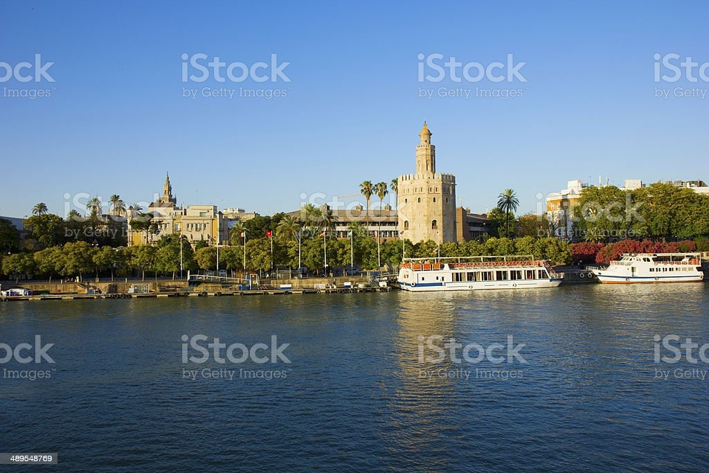 cityscape of Seville with Guadalquivir, Spain stock photo