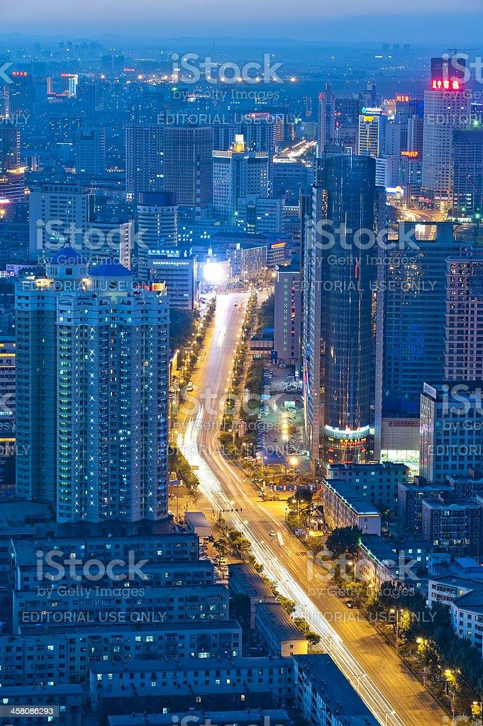 Cityscape of Shenyang at night, China stock photo