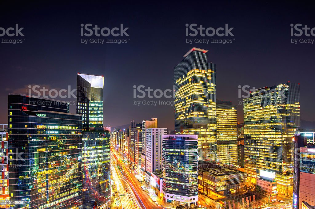Cityscape of South Korea. Night traffic speeds. stock photo
