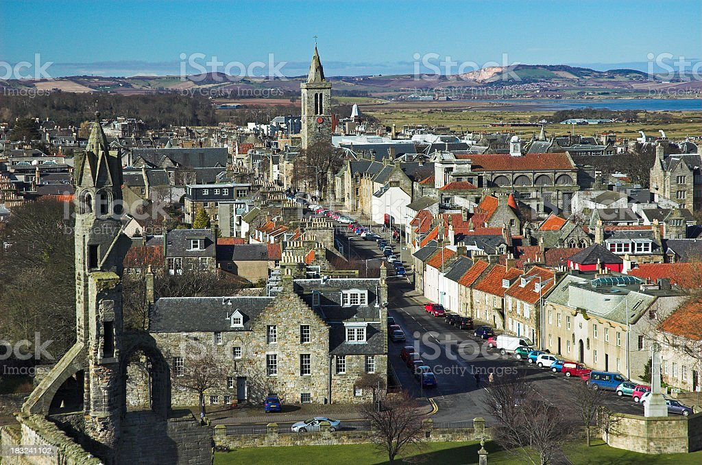Cityscape of St Andrews showing a view towards mountains stock photo