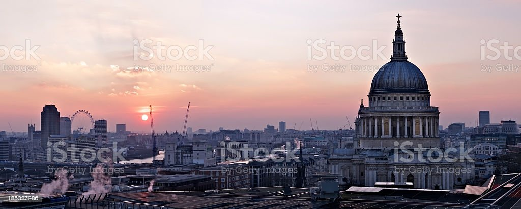 Cityscape of St Paul's Cathedral at sunset royalty-free stock photo