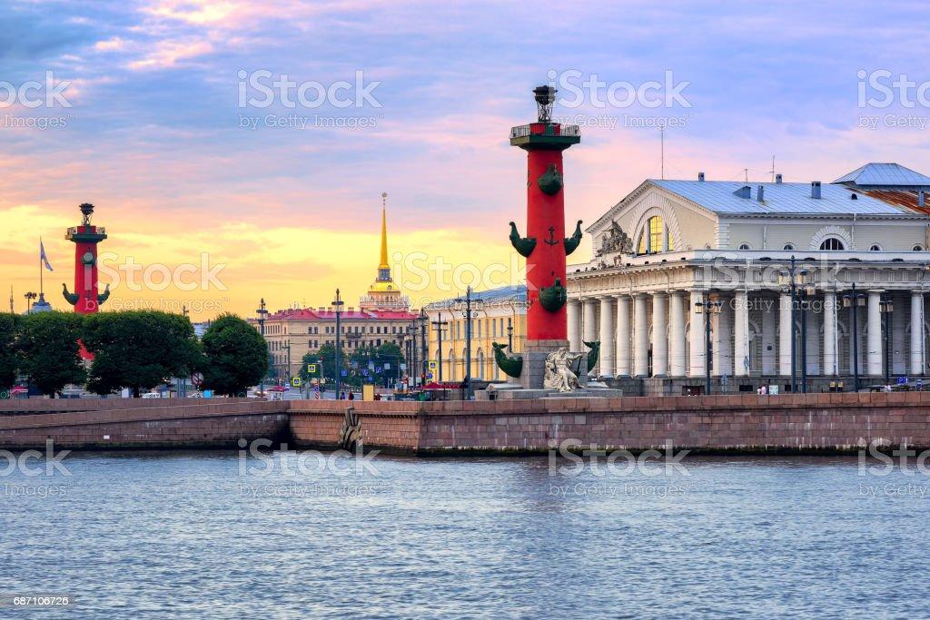 Cityscape of St Petersburg, Russia, on sunset stock photo