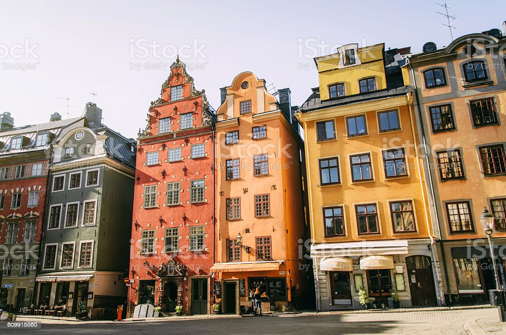 Cityscape of Stockholm with colored buildings stock photo