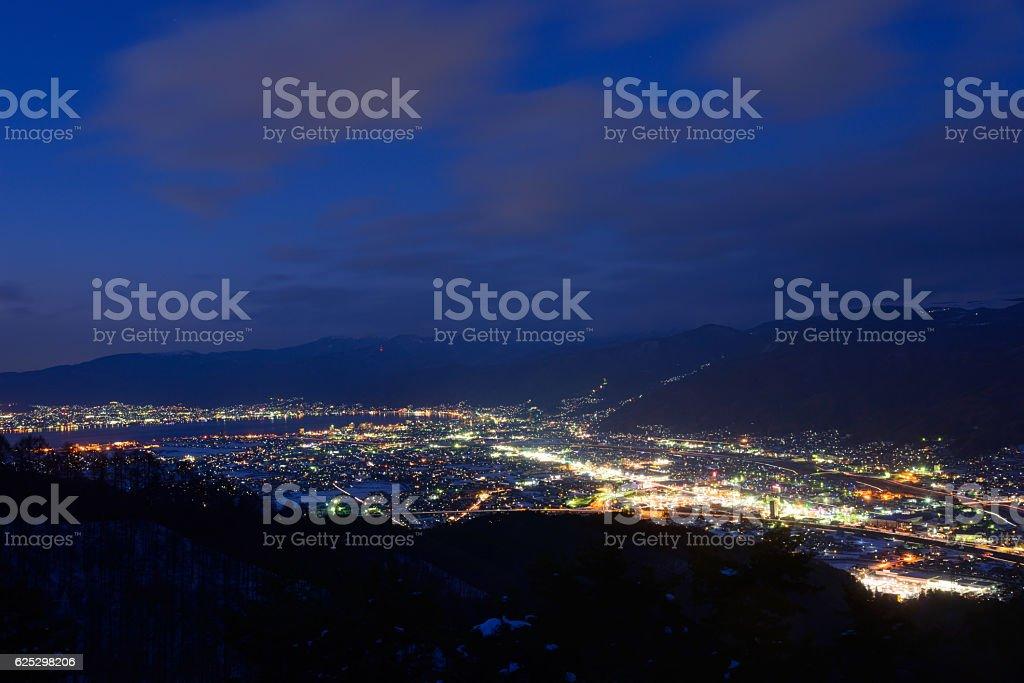 Cityscape of Suwa in Nagano, Japan stock photo