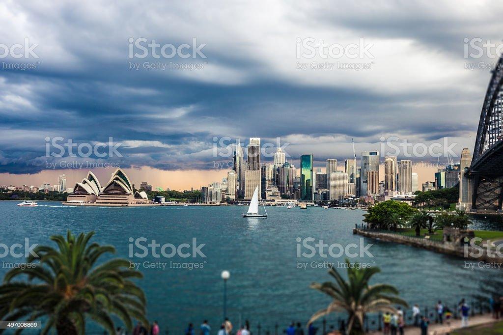 Cityscape of Sydney Downtown and Harbor Bridge stock photo