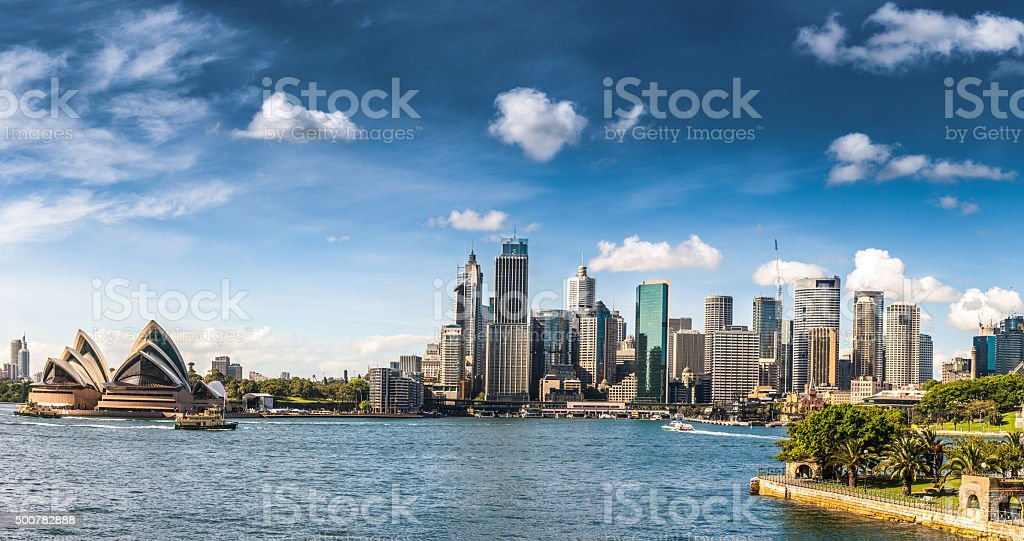 Cityscape of Sydney Downtown and Harbor Bridge stock photo