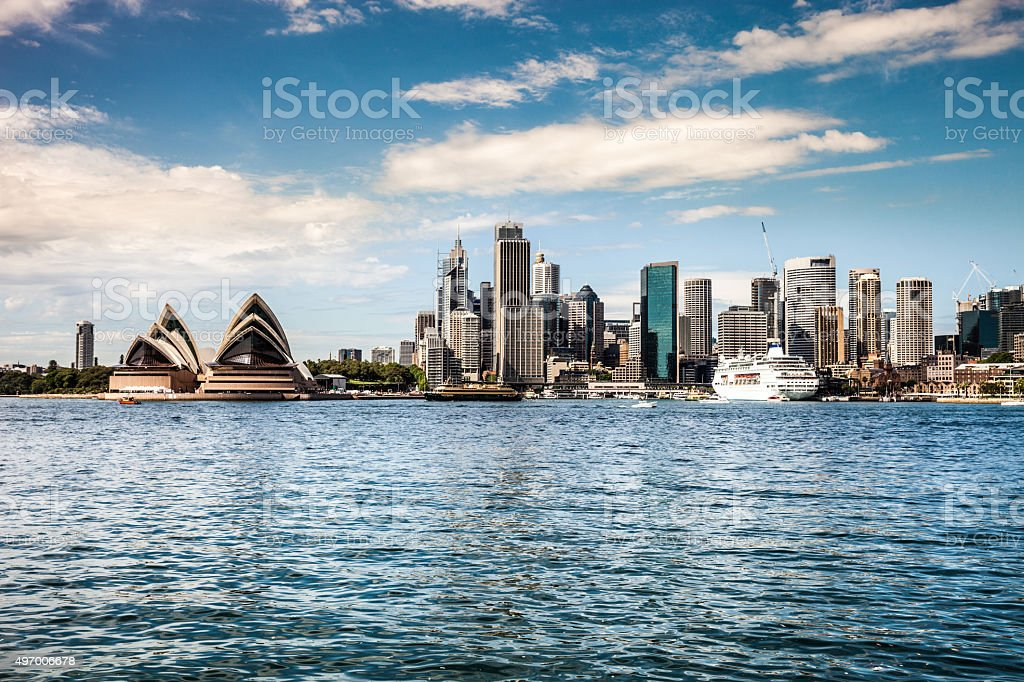 Cityscape of Sydney Downtown and Harbor stock photo