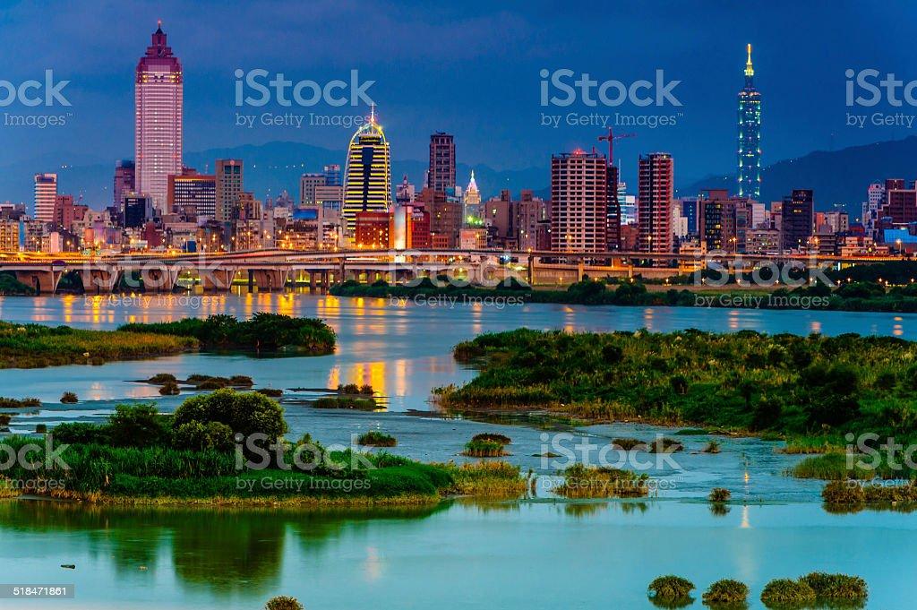 Cityscape of Taipei at night stock photo