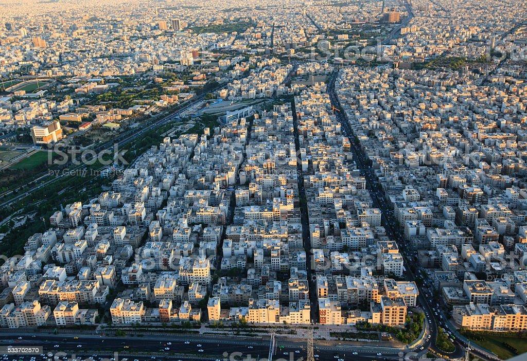 Cityscape of Tehran city from Milad tower, Tehran, Iran stock photo