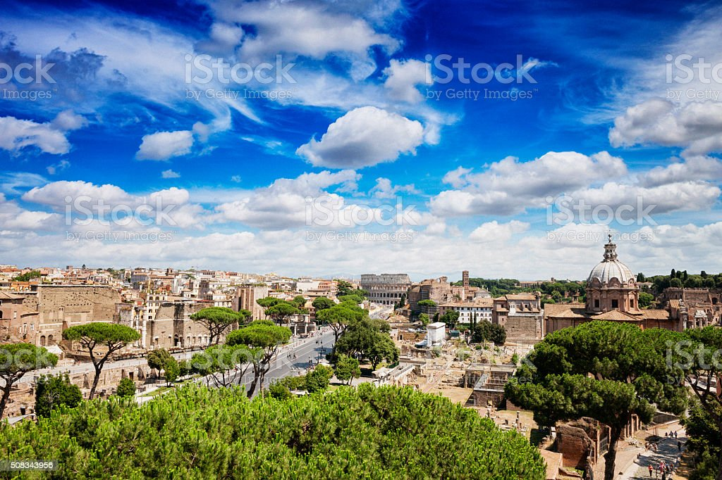 Cityscape of The Colosseum and Roman Forum in Rome, Italy stock photo