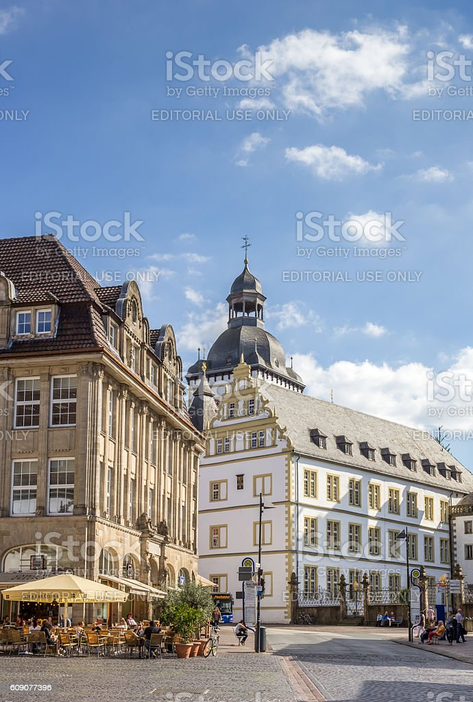 Cityscape of the historical center of Paderborn stock photo